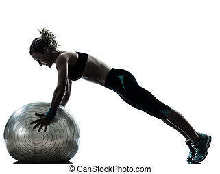 女, ボール, 運動, 試し, フィットネス, シルエット