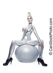 女, ボール, cyber, モデル, 銀, 美しい