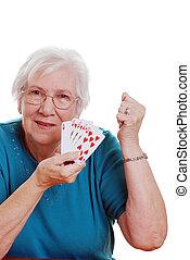 女, ポーカー, 遊び, シニア