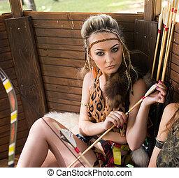 女, ポーズを取る, アマゾン, 弓, 美しい