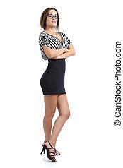 女, ポーズを取る, 腕, 身に着けていること, モデル, 地位, 折られる, 服, 美しい