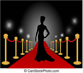 女, ポーズを取る, 赤いカーペット, ベクトル