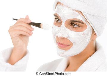 女, マスク, -, ティーネージャー, 美顔術, 皮膚, 問題, 心配