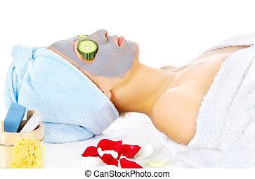女, マスク, 化粧品の 処置