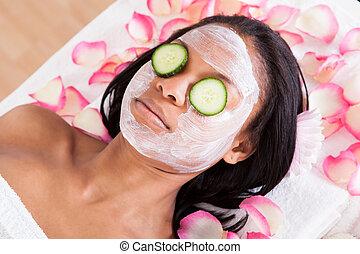女, マスク, 美顔術