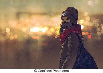 女, マスク, 背景, 冬, 若い, 肖像画, bokeh, 屋外の光, ガス