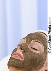 女, マスク, 若い, 顔, 健康, 美顔術, エステ, チョコレート, 持つこと
