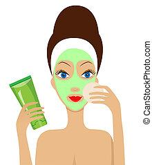 女, マスク, 顔, 化粧品