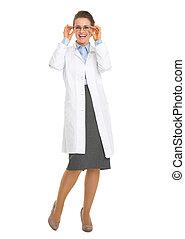 女, メガネ, oculist, 医者, 長さ, フルである, 肖像画, 微笑