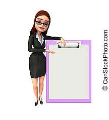 女, メモ用紙, 若い, ビジネス