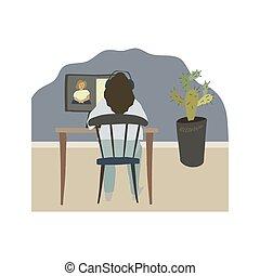 女, モニター, 監視, モデル, webinar, 前部, テーブル