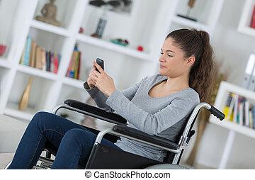 女, モビール, 車椅子, 若い, 電話, 使うこと
