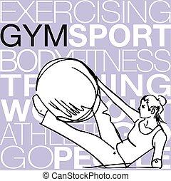 女, ヨガ, ジム, イラスト, 安定性, ボール, pilates, フィットネス