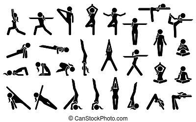 女, ヨガ, postures.