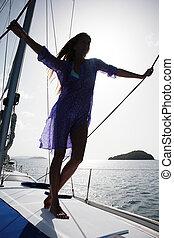 女, ヨット, ロープ, 中間の 大人, 保有物