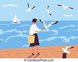 女, ヨット, 海洋, 供給, 海岸, illustration., ベクトル, 夏, 幸せ, 休暇, alone., 平ら, 出費, resort., 女性, horizon., 時間, ∥あるいは∥, 歩くこと, 波止場, に対して, 海, カモメ