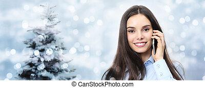 女, ライト, 木, ぼんやりさせられた, 話し, 主題, 電話, 微笑, クリスマス