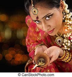 女, ライト, diwali, indian, 手を持つ