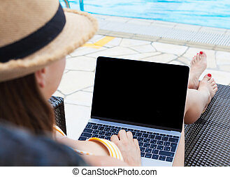 女, ラップトップ, 若い, 使うこと, プール, 水泳