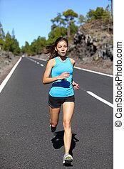 女, ランナー, -, 動くこと, ジョッギング女性