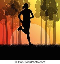 女, ランナー, 若い, イラスト, 動くこと, ベクトル, 森林, フィットネス, 風景