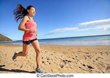 女, ランナー, 運動選手, スポーツ, 動くこと, 浜