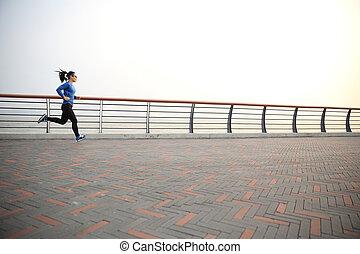 女, ランナー, 運動選手, 海岸, 若い, 動くこと, フィットネス, 道