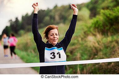女, ランナー, nature., 終わり, レース, 競争, 交差, シニア, 線