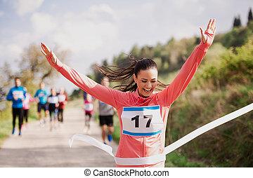 女, ランナー, nature., 若い, 競争, 終わり, レース, 交差, 線