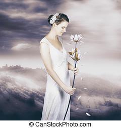 女, ロマンチック, 意見, 魅了
