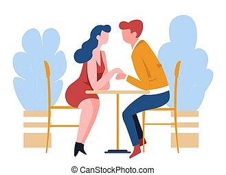女, ロマンチック, 関係, 恋人, 日付, カフェ, 人