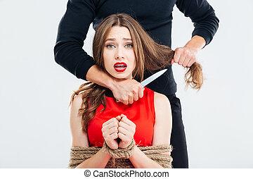 女, ロープ, 脅される, bounded, 使うこと, 犯罪者, ナイフ, 人