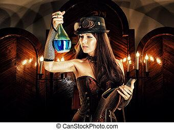 女, 一服, 魔法, 読む, 本, 魔女, 準備する, alchemist.
