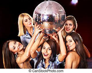 女, 上に, ディスコ, 中に, 夜, club.