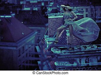 女, 上に, ∥, 屋根, の, 都市