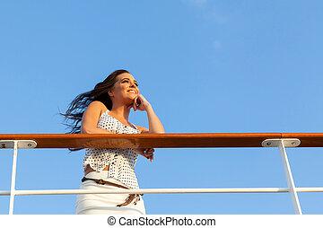 女, 上に, 巡航, 空想にふける