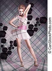 女, 上に, 現代, checkered, 背景, 服, 抽象的, art.