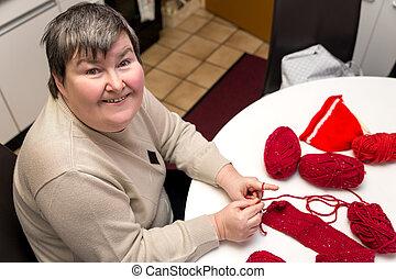 女, 不具, 療法, mentally, 選択肢, 手仕事, かぎ針で編み物をする