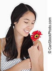 女, 中に, おさげ, 保有物の花