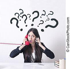 女, 中に, オフィス, ∥で∥, 問題, そして, ストレス, 電話