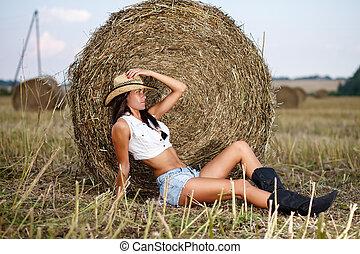 女, 中に, カウボーイ帽子, モデル, 近くに, a, わら, ベール
