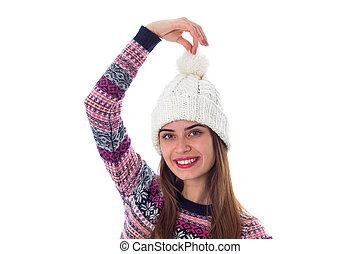 女, 中に, セーター, そして, 白い帽子, 保有物, a, bubo