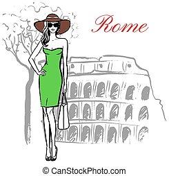 女, 中に, ローマ