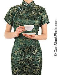 女, 中に, 中国語, 服, 保有物, a, お茶のカップ
