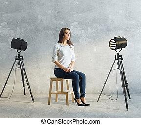 女, 中に, 写真の スタジオ