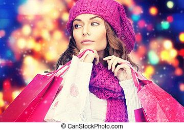 女, 中に, 冬服, ∥で∥, ピンク, 買い物袋