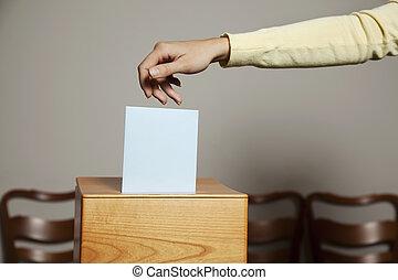 女, 中に, 投票 ブース