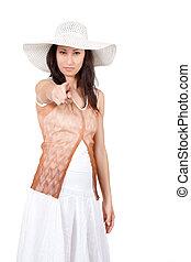 女, 中に, 白い太陽, 帽子