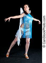 女, 中に, 青いドレス, ダンス