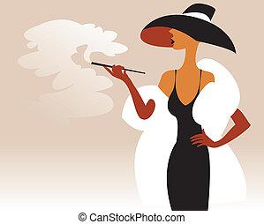 女, 中に, a, 毛皮コート, そして, 帽子